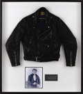 "Movie/TV Memorabilia:Costumes, James Dean's Leather Jacket. A handsome black leather motorcyclejacket with blue lining and Dean's nickname, ""Little Bastar..."