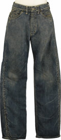 "Movie/TV Memorabilia:Costumes, Jeans Worn by James Dean in ""Giant."" This well-worn pair of Lee jeans was worn by Dean in Giant, the movie that earned h..."