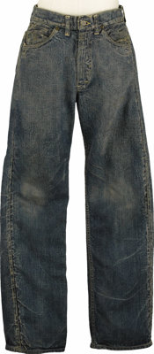 """Jeans Worn by James Dean in """"Giant."""" This well-worn pair of Lee jeans was worn by Dean in Giant, the movie tha..."""