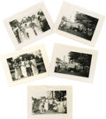 """Movie/TV Memorabilia:Photos, James Dean Childhood Photos. Five 4"""" x 3"""" b&w photos featuring Dean and other children performing in a May Day production. E..."""