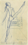 "Movie/TV Memorabilia:Autographs and Signed Items, James Dean Signed Sketch. This gorgeous 3"" x 5"" blue pencil sketch of a ballerina was drawn by Dean in New York City in 1954..."
