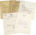 Movie/TV Memorabilia:Memorabilia, Five Pieces of James Dean Business Correspondence. Included is anAugust 23, 1955, letter to Dean from the California Franch...