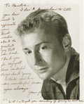 Movie/TV Memorabilia:Autographs and Signed Items, Nick Adams Inscribed Photo. A friend and co-star of James Dean's onRebel Without a Cause, actor Nick Adams was also a s...