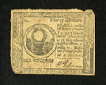 Colonial Notes:Continental Congress Issues, Continental Currency February 26, 1777 $30 Very Fine-ExtremelyFine. The detail on this Baltimore issue note is quite nice a...