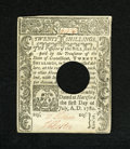 Colonial Notes:Connecticut, Connecticut July 1, 1780 20s Choice About New. A very lightlycirculated example of this punch cancelled issue which is brig...