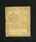 Colonial Notes:Pennsylvania, Pennsylvania April 3, 1772 9d Very Fine. A very attractive exampleof this small change note that has a couple of side cente...