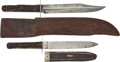 Edged Weapons:Knives, Two Stag Handled Bowie Knives With Unusual Markings C. 1870.... (Total: 2 Items)