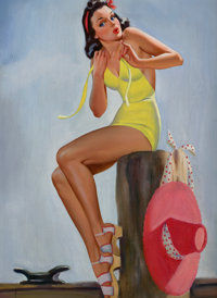 EDWARD D'ANCONA (American, 20th Century) Pin-Up on the Dock Oil on canvas 26 x 19 in. Not sign