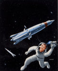 Pulp, Pulp-like, Digests, and Paperback Art, MEL HUNTER (American, 1927-2004). Space Tug, book cover,1953. Gouache on board. 12.25 x 10 in.. Signed lower right. ...
