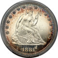 Proof Seated Quarters, 1881 25C PR66+ Cameo PCGS. CAC....