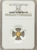 California Fractional Gold, 1873 25C Liberty Octagonal 25 Cents, BG-728, R.3, MS66 NGC. NGCCensus: (8/2). PCGS Population (24/3). (#10555)...