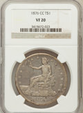 Trade Dollars: , 1876-CC T$1 VF20 NGC. NGC Census: (2/106). PCGS Population (1/131).Mintage: 509,000. Numismedia Wsl. Price for problem fre...