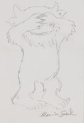 Pulp, Pulp-like, Digests, and Paperback Art, MAURICE BERNARD SENDAK (American, 1928-2012). Hide-and-Seek WildThing. Pencil on paper. 8 x 5.5 in.. Signed lower right...