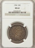 Barber Half Dollars: , 1904 50C MS62 NGC. NGC Census: (17/55). PCGS Population (16/72).Mintage: 2,992,670. Numismedia Wsl. Price for problem free...