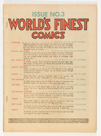 World's Finest Comics #3 (DC, 1941) Condition: Coverless