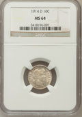 Barber Dimes: , 1914-D 10C MS64 NGC. NGC Census: (99/61). PCGS Population (111/63).Mintage: 11,908,000. Numismedia Wsl. Price for problem ...