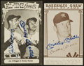 Baseball Collectibles:Others, Mickey Mantle and Joe DiMaggio Signed Postcards Lot of 2....