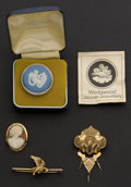 Estate Jewelry:Other , Three Gold Pins & One Silver Wedgwood Cameo. ... (Total: 4Items)