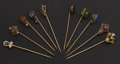 Estate Jewelry:Stick Pins and Hat Pins, A Lot of Ten Gold & Gemstone Stick Pins. ...