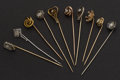 Estate Jewelry:Stick Pins and Hat Pins, A Lot Of Ten Early Gold & Diamond Stick Pins. ... (Total: 10Items)
