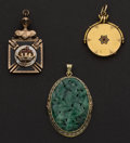 Estate Jewelry:Pendants and Lockets, Masonic Gold Fob & Two Gold Pendants. ... (Total: 3 Items)