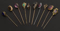 Estate Jewelry:Stick Pins and Hat Pins, A Lot of Ten Gold Stick Pins. ... (Total: 10 Items)