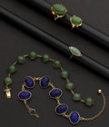 Estate Jewelry:Other , Three Gold Jade Rings & One Gold Bracelet & One Gold Lapis Bracelet. ... (Total: 5 Items)