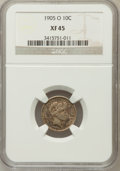 Barber Dimes: , 1905-O 10C XF45 NGC. NGC Census: (3/137). PCGS Population (10/138).Mintage: 3,400,000. Numismedia Wsl. Price for problem f...
