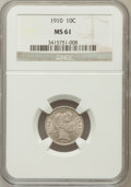 Barber Dimes: , 1910 10C MS61 NGC. NGC Census: (19/346). PCGS Population (9/374).Mintage: 11,520,551. Numismedia Wsl. Price for problem fr...