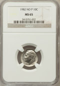 Roosevelt Dimes: , 1982 10C No P MS65 NGC. NGC Census: (90/117). PCGS Population(706/543). Numismedia Wsl. Price for problem free NGC/PCGS c...