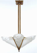 Decorative Arts, French:Lamps & Lighting, A FRENCH ART DECO PATINATED METAL AND GLASS FOUR-LIGHT CHANDELIER .Maker unknown, French, circa 1925. 31-1/4 inches high (7...