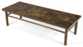 Furniture , A LAVERNE PATINATED BRONZE COFFEE TABLE . Philip and Kelvin Laverne, New York, New York, circa 1965. Marks: Philip Kelvin ...