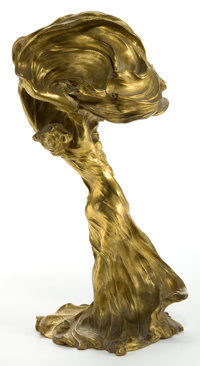 A FRANÇOIS-RAOUL LARCHE (FRENCH, 1860-1912) GILT BRONZE TABLE LAMP: LOIE FULLER Cast by Sio