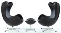 Furniture , A PAIR OF JACOBSEN LEATHER EGG CHAIRS AND OTTOMAN . Designed by Arne Jacobsen (Danish, 1902-1971). Manufactured ... (Total: 3 Items)