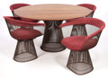 Furniture , A WARREN PLATNER BRONZE PLATED TABLE FOUR CHAIR SET . Designed by Warren Platner (American, 1919-2006). Manufactured by Knol... (Total: 5 Items)