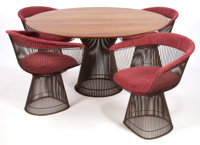 A WARREN PLATNER BRONZE PLATED TABLE FOUR CHAIR SET Designed by Warren Platner (American, 1919-2006) Manufactu