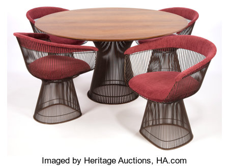 A WARREN PLATNER BRONZE PLATED TABLE FOUR CHAIR SET Designed by Warren Platner (American, 1919-2006)Manufactured by Knol... (Total: 5 Items)