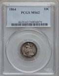 Seated Dimes, 1864 10C MS62 PCGS....