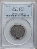 Half Cents: , 1804 1/2 C Spiked Chin VF30 PCGS. PCGS Population (21/195). NGCCensus: (11/153). Numismedia Wsl. Price for problem free N...