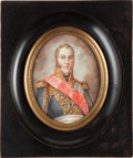 Military & Patriotic:Foreign Wars, Painting: Miniature Painting of Marshal Michel Ney,...