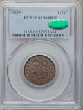 Half Cents: , 1835 1/2 C MS64 Brown PCGS. CAC. PCGS Population (106/22). NGCCensus: (215/105). Mintage: 398,000. Numismedia Wsl. Price f...