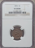 Indian Cents: , 1872 1C VF30 NGC. NGC Census: (30/417). PCGS Population (50/532).Mintage: 4,042,000. Numismedia Wsl. Price for problem fre...