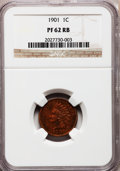 Proof Indian Cents: , 1901 1C PR62 Red and Brown NGC. NGC Census: (6/294). PCGSPopulation (1/229). Mintage: 1,985. Numismedia Wsl. Price forpro...