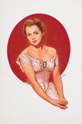 Pin-up and Glamour Art, BARON GERALD (JERRY) VON LIND (American, b. 1937). OliviaDeHaviland, 1997. Gouache on board. 15 x 10 in.. Signed lower... (Total: 2 Items)