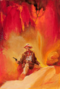 Pulp, Pulp-like, Digests, and Paperback Art, BARON GERALD (JERRY) VON LIND (American, b. 1937). Ambush atFire Creek, paperback cover, 1965. Oil on board. 23.5 x 16 ...(Total: 2 Items)