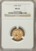 Indian Quarter Eagles: , 1910 $2 1/2 MS65 NGC. NGC Census: (172/14). PCGS Population (89/8).Mintage: 492,000. Numismedia Wsl. Price for problem fre...