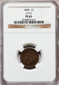Patterns, 1858 P1C Indian Cent, Judd-212, Pollock-256, 263, R.4, PR63 NGC.NGC Census: (16/33). PCGS Population (30/50). (#11895)...