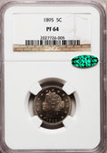 Proof Liberty Nickels: , 1895 5C PR64 NGC. CAC. NGC Census: (148/138). PCGS Population(247/97). Mintage: 2,062. Numismedia Wsl. Price for problem f...