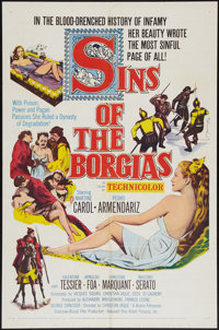 """Sins of the Borgias & Others Lot (Aidart Pictures, Inc., 1955). One Sheets (3) (27"""" X 41""""). Historical Dra..."""