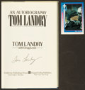Football Collectibles:Publications, Tom Landry Signed Book and Card Lot of 2....